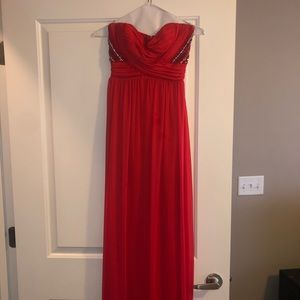 Red Strapless Prom Dress with beautiful detail